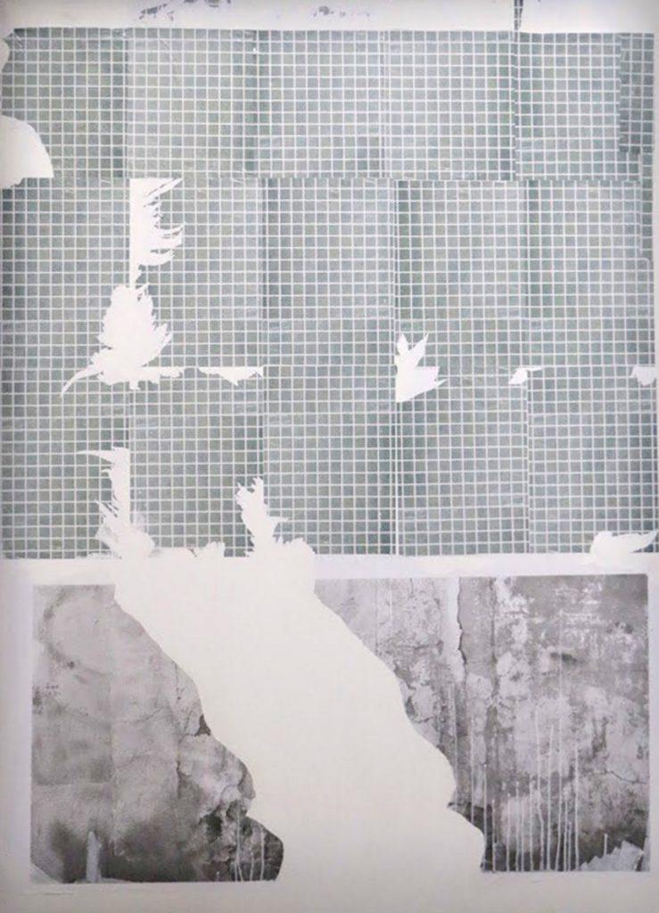 Debby Barthoux, Matière archivée, 2019. Sérigraphie, peinture acrylique sur toile, 200x145cm