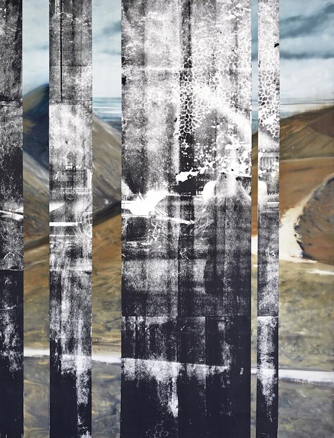 Eva Nielsen, Portraet, 2019, huile, acrylique et encre de sérigraphie sur toile, 200 x 155 cm. Courtesy de l'artiste et de la galerie Jousse Entreprise, Paris