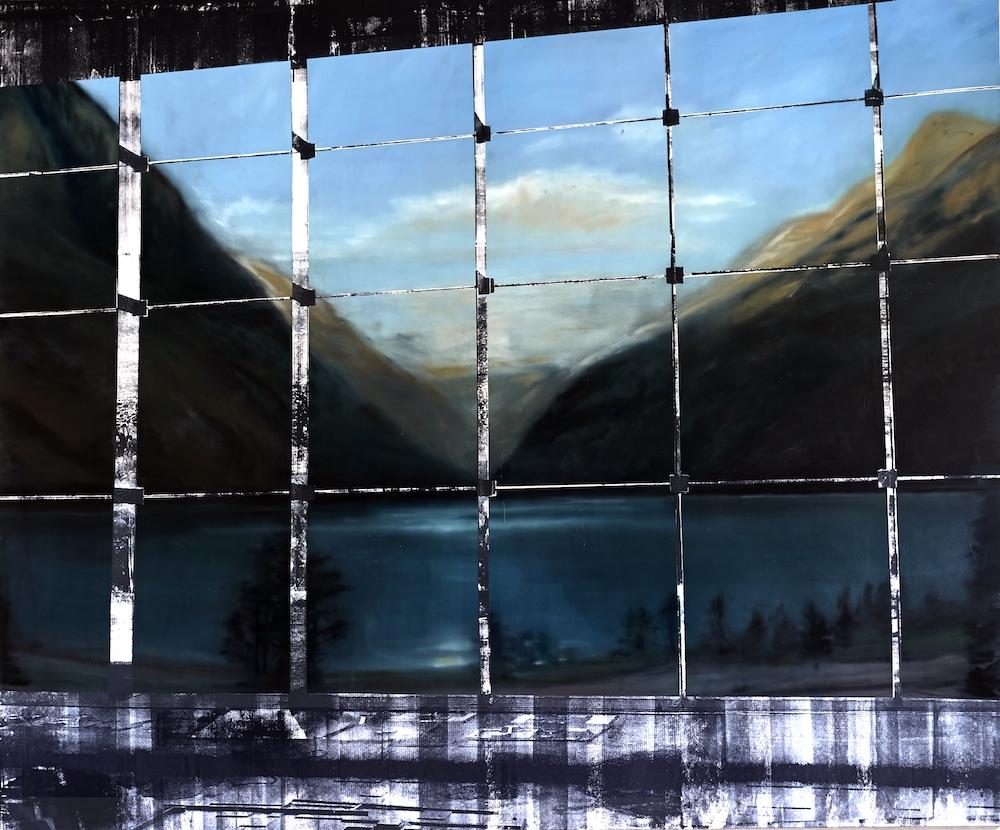 Eva Nielsen, Dipolar, 2019, huile, acrylique et encre de sérigraphie sur toile, 200 x 230 cm. Courtesy de l'artiste et de la galerie Jousse Entreprise, Paris