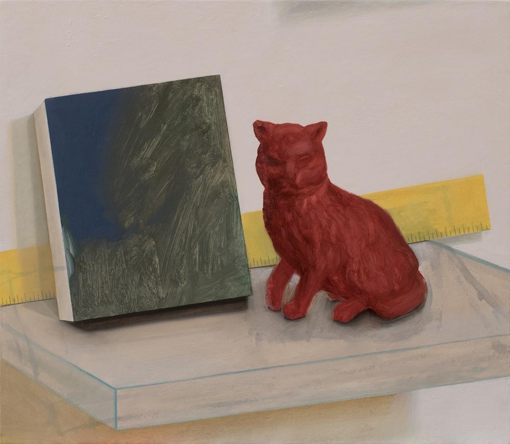 Marion Bataillard, Tableau et chat, 2018-2019. Huile sur bois, 35x40 cm