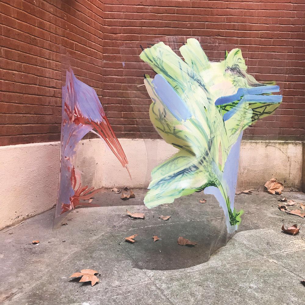 Iris Garagnoux, Glitch, 2018. Peinture Acrylique sur plexiglass, plaque de plexiglas, 100 x 100 cm Courtesy et photo Iris Garagnoux