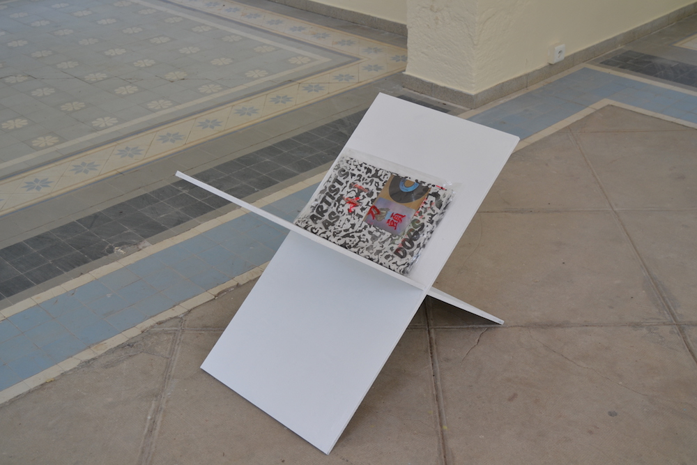 Maxime Testu, Lutrin, série, 2019 Lutrin (1) bois, papier de riz, encre, gravure, plastique 50x50 cm