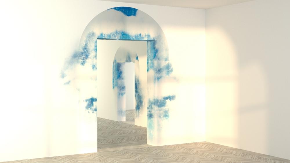 Côme Di Meglio, Les Portes du ciel, 2018, transfer sur enduis à la chaux et poudre de marbre, dimensions variables