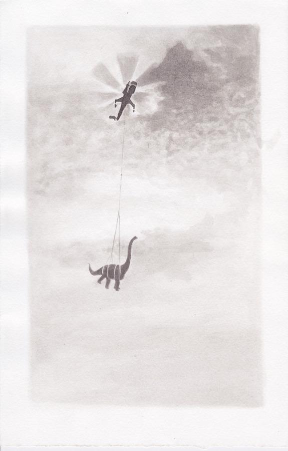 Romain Trinquand, Dino-copter, dessin, lavis, encre de chine. Exposition « Allée des Sphinx » avec Julien Deprez, Vanina Langer, Romain Trinquand, Claire Vaudey jusqu'au 25 Août 2019 au Louxor Paris