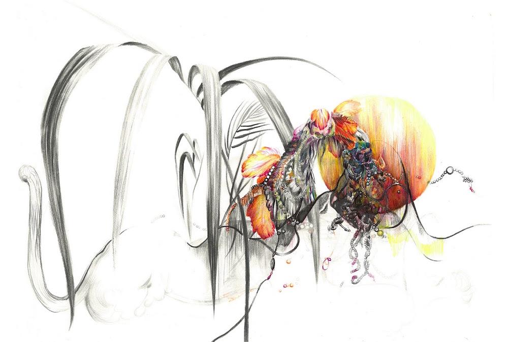 Vanina Langer, Naissance Sphinx, crayons, stylo sur papier. . Exposition « Allée des Sphinx » avec Julien Deprez, Vanina Langer, Romain Trinquand, Claire Vaudey jusqu'au 25 Août 2019 au Louxor Paris