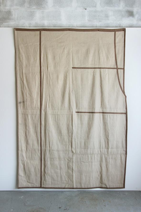 Romain Métivier sans titre (beige/marron) - 2019 tissu, laine 272 x 190 cm