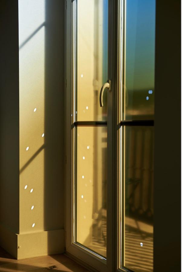 Stéphanie Raimondi Animal Signal, 2019 Vitrophanie, 5 x 196 x 36 cm dans le cadre de l'exposition Bruits de couloir, Janvier-Février 2019, Nice crédit photo : Anthony Lanneretonne