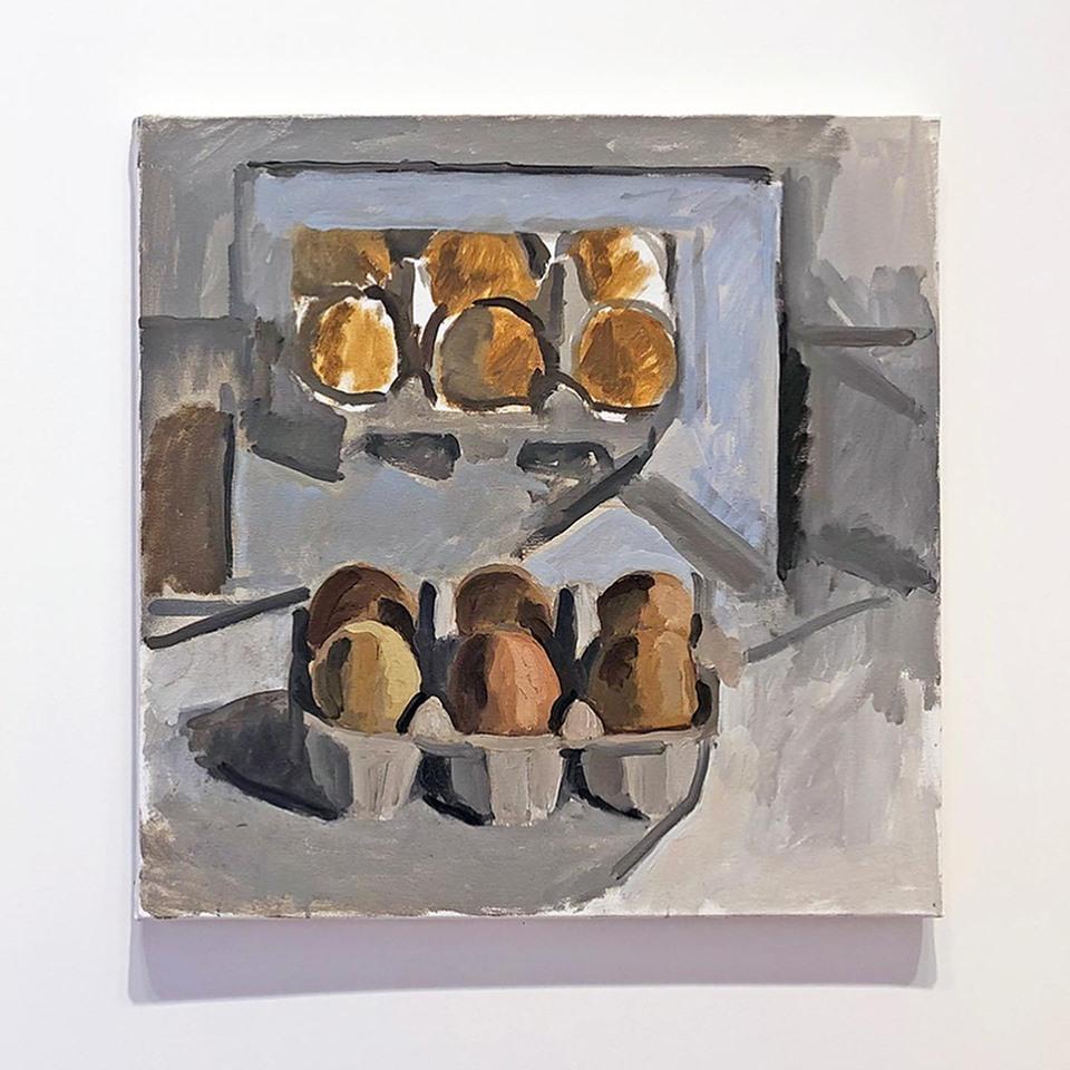 Tatiana Pozzo di Borgo, Œufs (9). Huile sur toile, 50 x 50 cm. Exposition Sans pourquoi Faubourg Jeunes Artistes