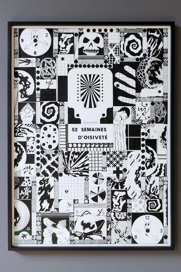 Alan Schmalz, Série Quelques catastrophes, (détail), dessin, 2019, centre d'art Le Lait, Albi, photo Phœbé Meyer