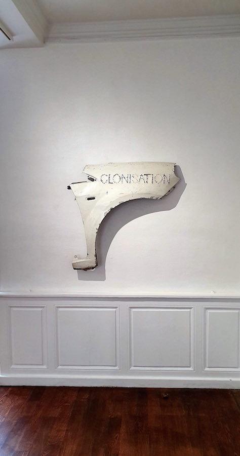 Benoît Travers, Clonisation, 2017, aile de voiture, 90 x 60 x 10 cm, Courtesy Fonds de dotation, KATAPULT, Wilfried Pasquier