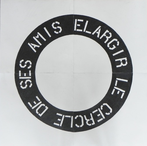 Jérôme Grivel Elargir le cercle de ses amis (pièce innocente), 2018 crayon sur papier, 100 x 100 cm