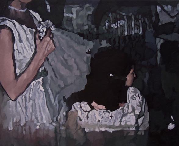 Barbara Navi, La dévoilée, huile sur toile, 50 x 61 cm, 2019. Courtesy artiste