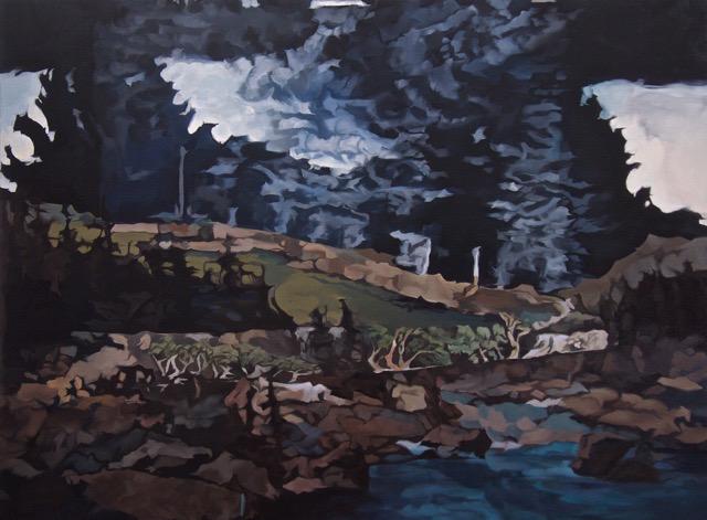 Barbara Navi, Forêts, soleils, rives, savanes, huile sur toile, 97 x 130 cm, 2015. Courtesy artiste