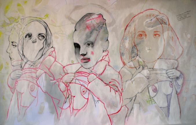 Ghyslain Bertholon, Face à Face avec Anna Thomson, 2010 Craie, fusain et acrylique sur papier, 150 x 95 cm