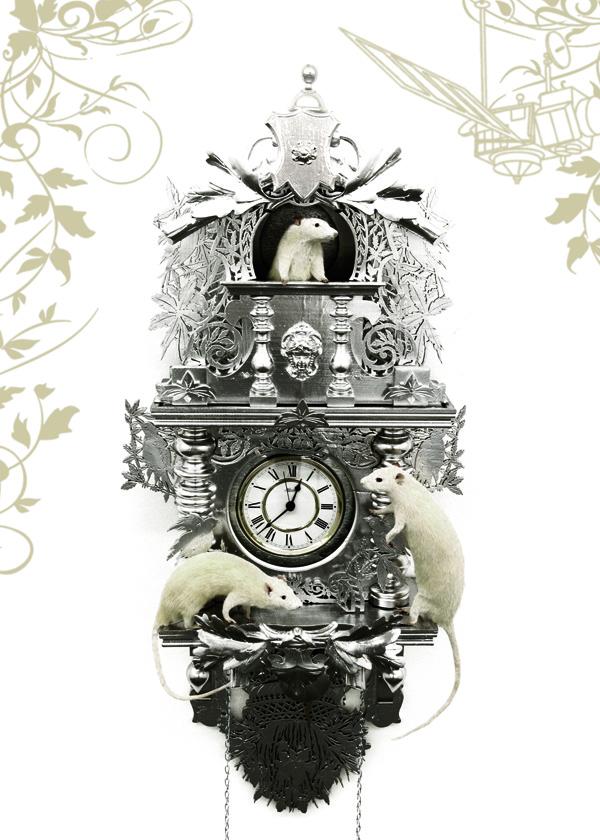 Ghyslain Bertholon, Comment j'ai tué le temps, 2009.  Taxidermie, bois sculpté laqué, mécanisme d'horloge haute précision, satellite géostationnaire, horloge atomique de Frankfurt