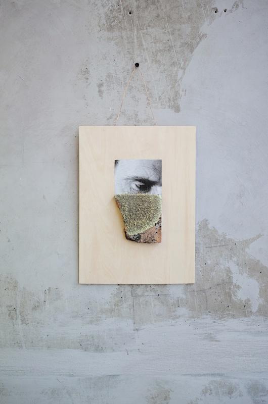 Ícaro Lira, Sans titre | 2019 bois, terre cuite, mousse, photographie 42 x 22,5 cm. Courtesy et photo Salle Principale