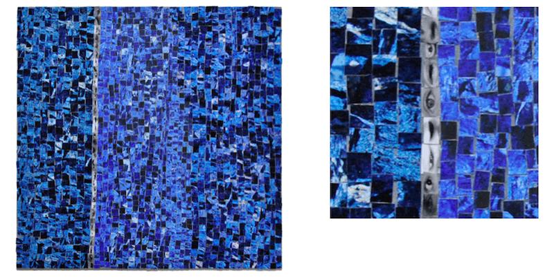 Kwama Frigaux, Ligne tremblée et détail, juin 2019, 40 x 40 cm, photographie sur toile, 1700 tesselles