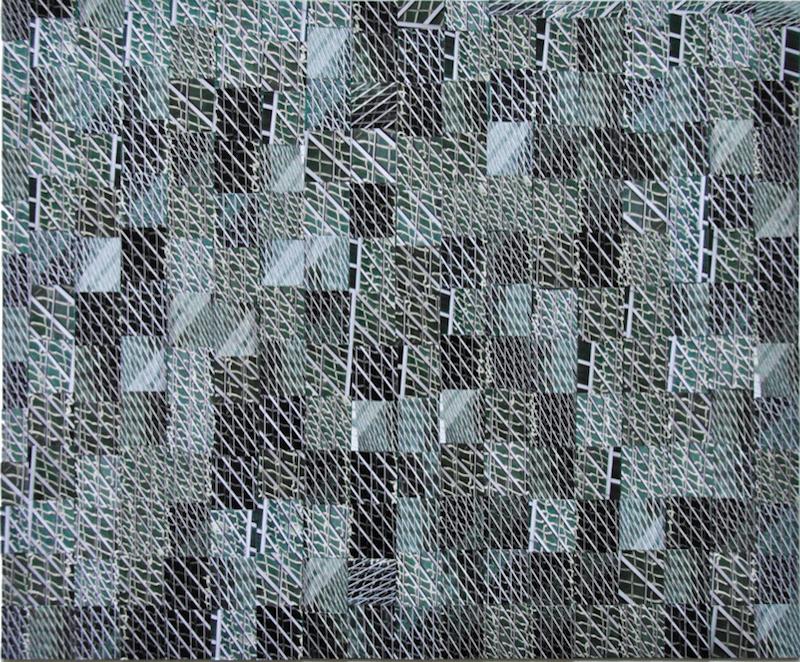 Kwama Frigaux, Reflets tissés, août 2019, 38 x 46 cm, photographie sur toile, 234 tesselles
