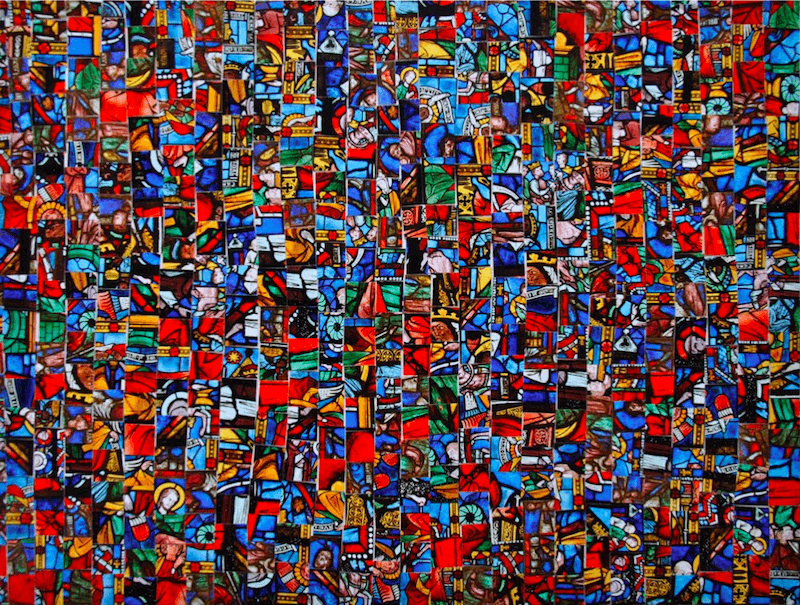 Kwama Frigaux, Vitrail, août 2019, 50 x 65 cm, photographie sur plexiglas, 500 tesselles