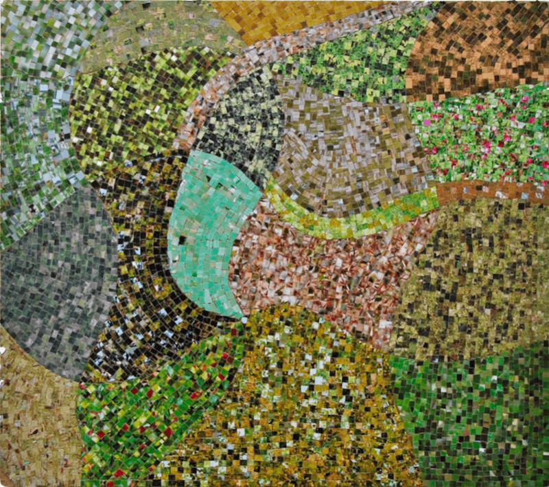 Kwama Frigaux, Vue du ciel I, mai 2019, 34 x 39 cm, photographie sur bois, 2000 tesselles