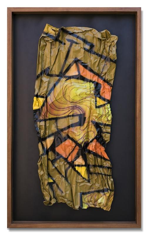 Reso, Petits Papiers, 24. Aérosol sur métal, 125 x 50 cm, 2019