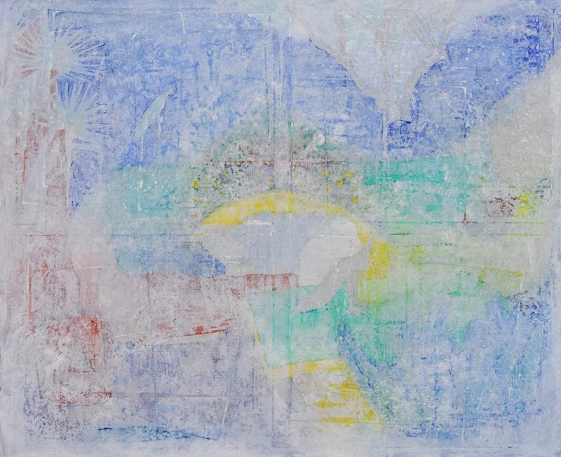 Élisabeth Mironenko, Ezuz, Peinture à l'huile sur toile, 100x80 cm, 2019 Série Archeology, effets de recouvrements puis de ponçage qui donnent l'illusion d'une peinture ancienne révélée par des fouilles