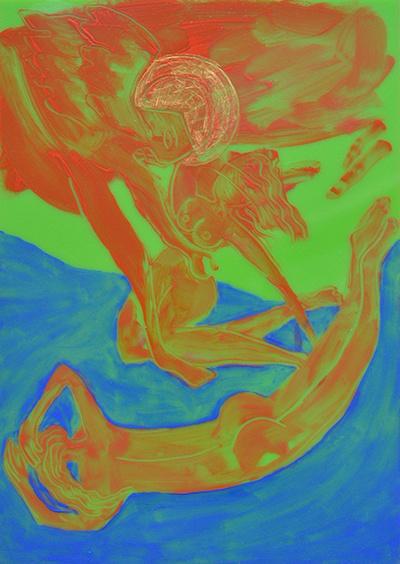 Élisabeth Mironenko, Les Anges épousent les femmes Peinture à l'huile sur plexiglas, A4, 2019 Série Genèse, scènes imaginées à partir des mythes et récits de la bible