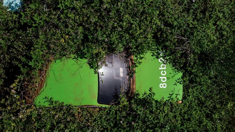 Zoer, Solara -  Kadett 82 Green  .    8dcb2d, 2019, acrylique sur carrosserie, France © WTF / courtesy zoerism studio