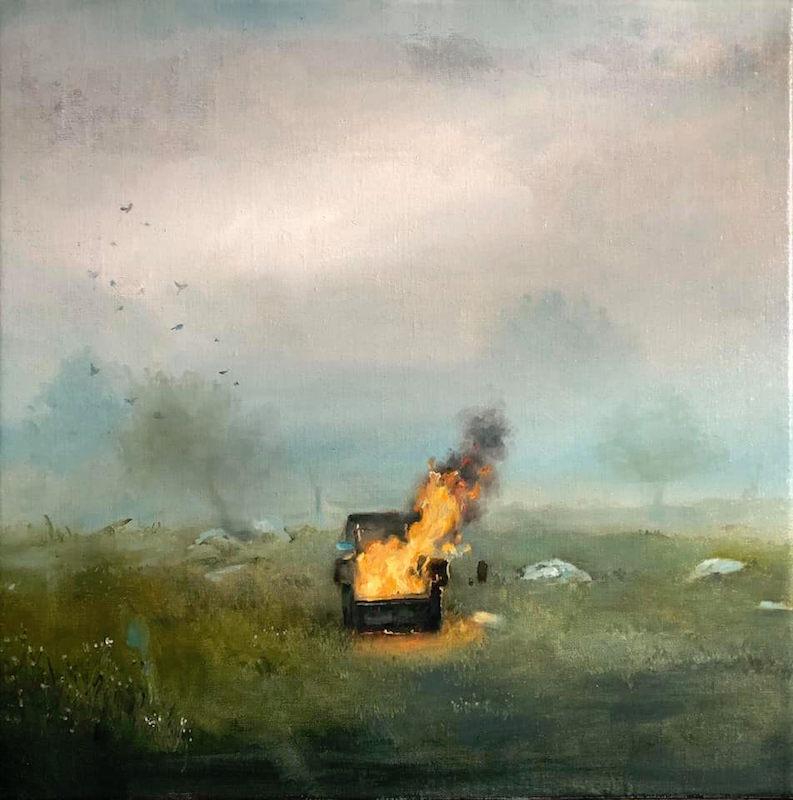 Lamri Magdalena, Le gout des cendres I, 2019. Huile sur toile, 50 x 50 cm