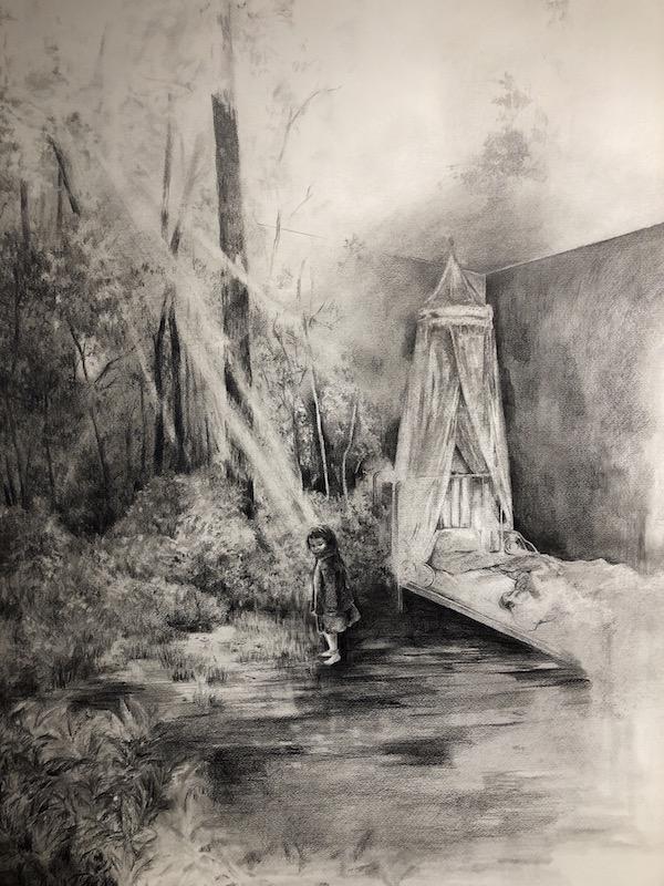 Lamri Magdalena, Frontière 4, 2014. Graphite et fusain sur papier, 70 x 110 cm