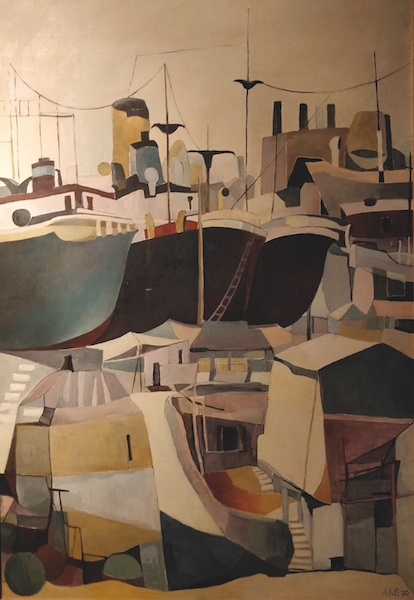 Les chantiers navals de Perama, dans les années 1960-1970 Peinture à l'huile de AMI. Œuvre désormais présentée dans la Mairie de Perama Courtesy Barbara Polla