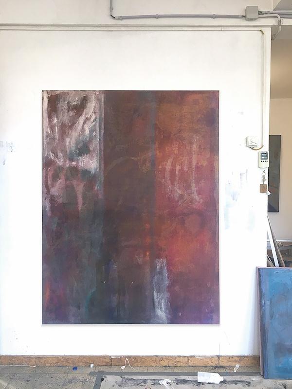 François Patoue, Negroni, 2019 Huile sur lin, 160 x 120 cm  Vue d'atelier Courtesy et photo François Patoue
