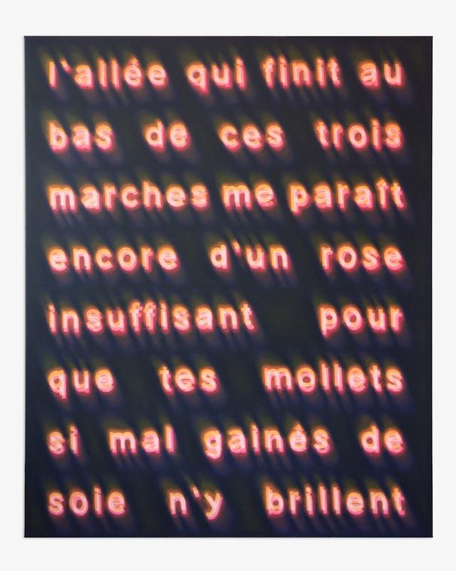 Pedro Ruxa, L'allée qui finit au bas de ces trois marches me paraît encore d'un rose insuffisant pour que tes mollets si mal gainés de soie n'y brillent, 2019 acrylic on canvas, 150x120cm