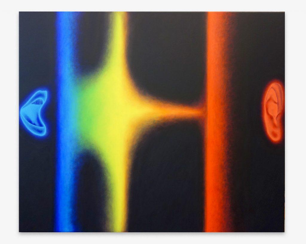 Pedro Ruxa, With sience we sepak, 2018 acrylic on canvas, 100x120cm