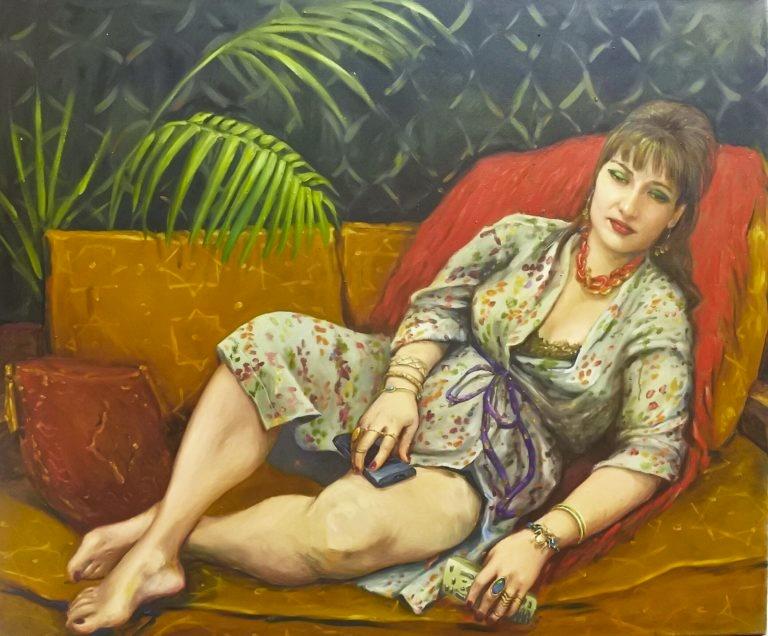 Tora Aghabayova Remote Control, 2013 Peinture à l'huile 120 x 100 cm  Pièce unique