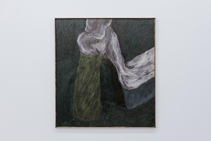 """Boulevard Anspach"", Stevie Dix, oil, beeswax and charcoal on canvas and wooden frame, 100x110cm, 2020 © Stevie Dix & GALERIE CHLOE SALGADO"