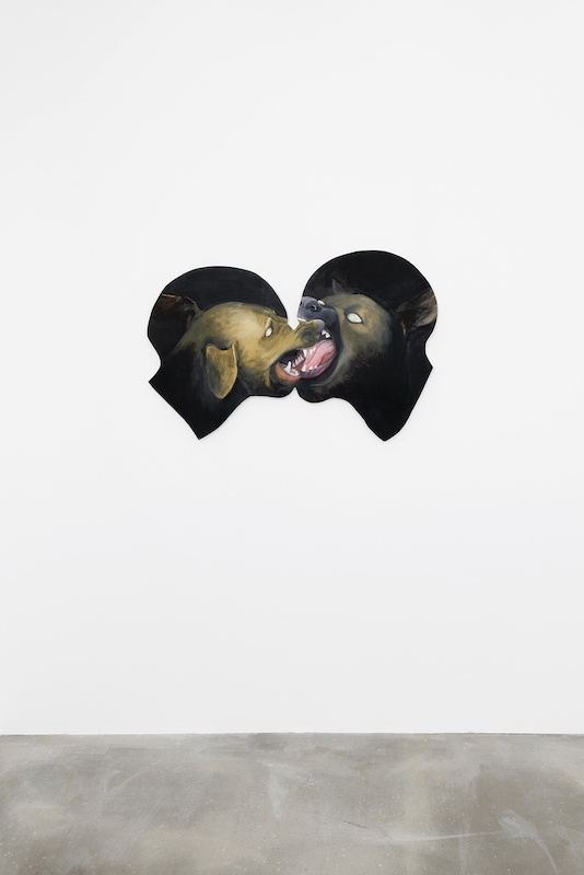 Robert Brambora, Untitled (dog kiss 6), 2020 Oil, gouache and pencil on wood, copper, 75 x 110 cm. Photo Aurélien Mole / copyright and courtesy of the artists and Sans titre (2016)