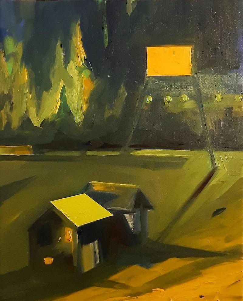 Karine Hoffman, escape game 6048, 2020. Huile sur toile, 35 x 27 cm