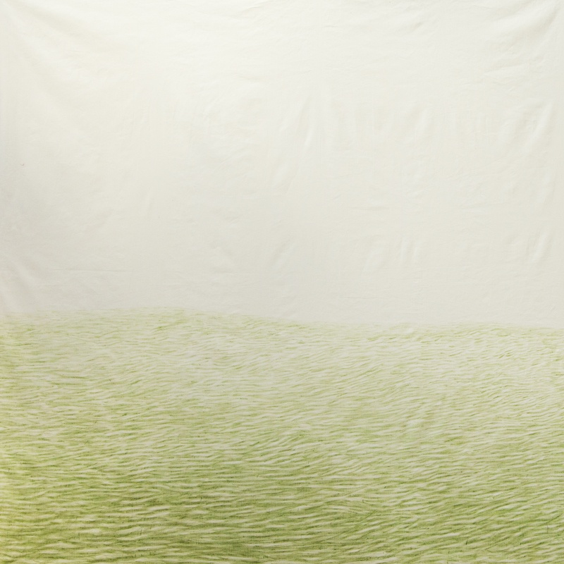 Estelle Chrétien, Dessin à l'herbe fraiche sur toile de lin, 2020