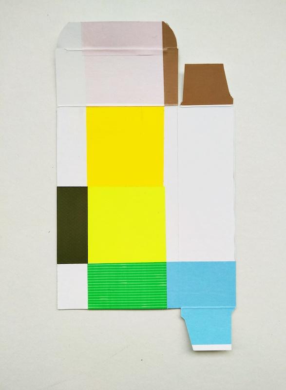 Jérôme Touron, série Kiss Cool (vert), 2020, techniques mixtes/carton, 33x27 cm