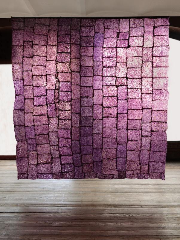 Léa Barbazanges – Paroi d'algues - 2014 - Assemblage d'algues aux coloris obtenus par des temps différents d'exposition à la lumière - 230 × 240 cm
