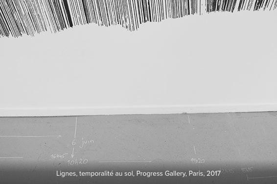 Marta Budkiewicz, Lignes. Réalisation in situ, temporalité au sol. Progress Gallery Paris, juin-juillet 2017