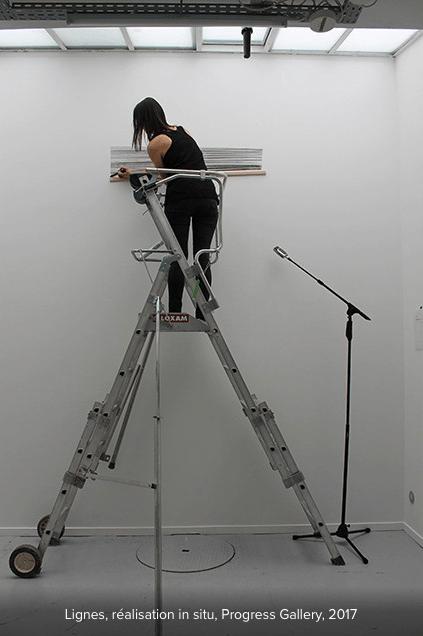 Marta Budkiewicz, Lignes. Réalisation in situ, Progress Gallery Paris, juin-juillet 2017