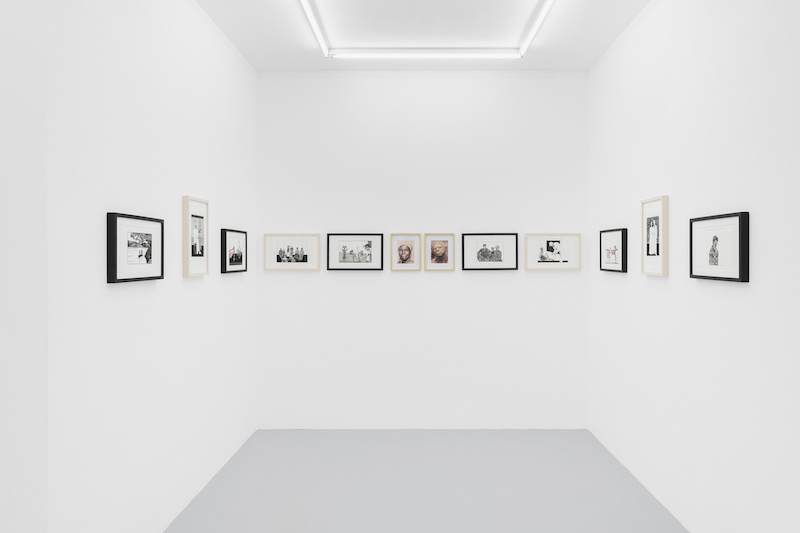 Michèle Magema, Cultiver les champs à la suédoise, 2020, Indian ink on paper and prints on Hahnemühle paper (12 parts), variable dimensions - installation Courtesy Irène Laub Gallery, photo by Hugard and Vanoverschelde