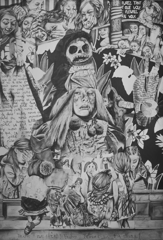 Anaïs Prouzet, Frappe, tue la frappe, fends la en deux, 2018. Crayon sur papier, 114 x 80 cm