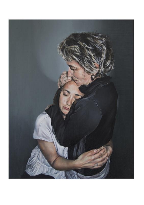 Anaïs Prouzet, Maman, dans tes bras, 2019. Huile sur bois, 30 x 25 cm