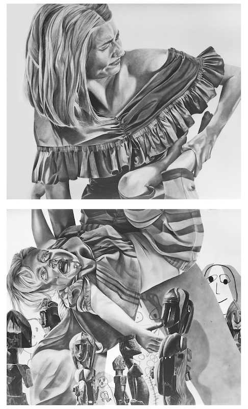 Anaïs Prouzet, Mise au tombeau, 2018. Crayon sur papier, 165 x 95 cm (diptyque)