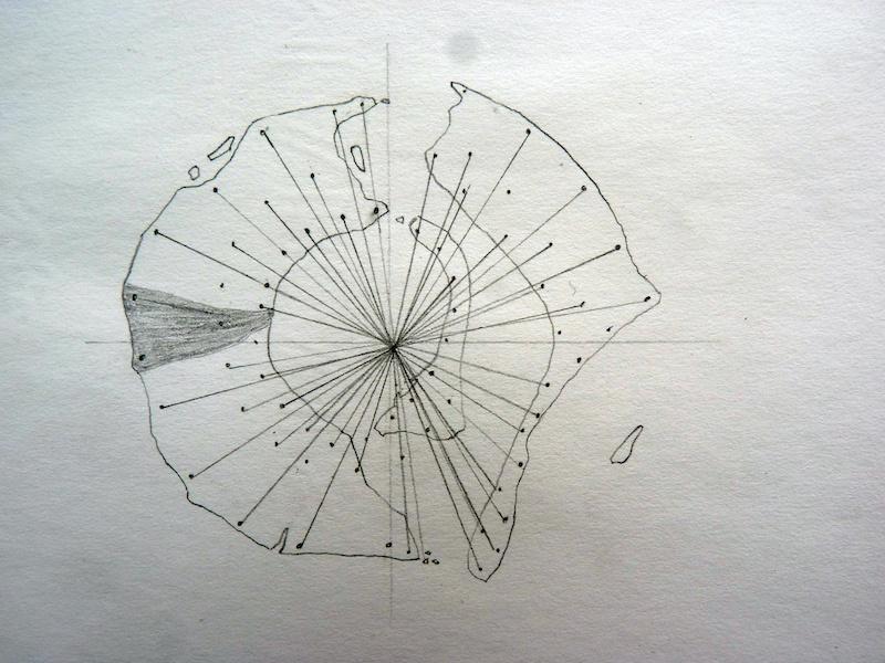 Aurélien Mauplot, Carte des positions des Paoratu mato (2008) 20 x 15 cm Mine