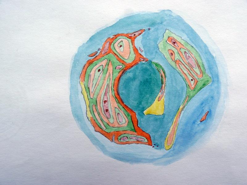 Aurélien Mauplot, Carte géologique de Moana Fa'a'aro (2008) 20 x 15 cm Acqurelle sur papier 2018