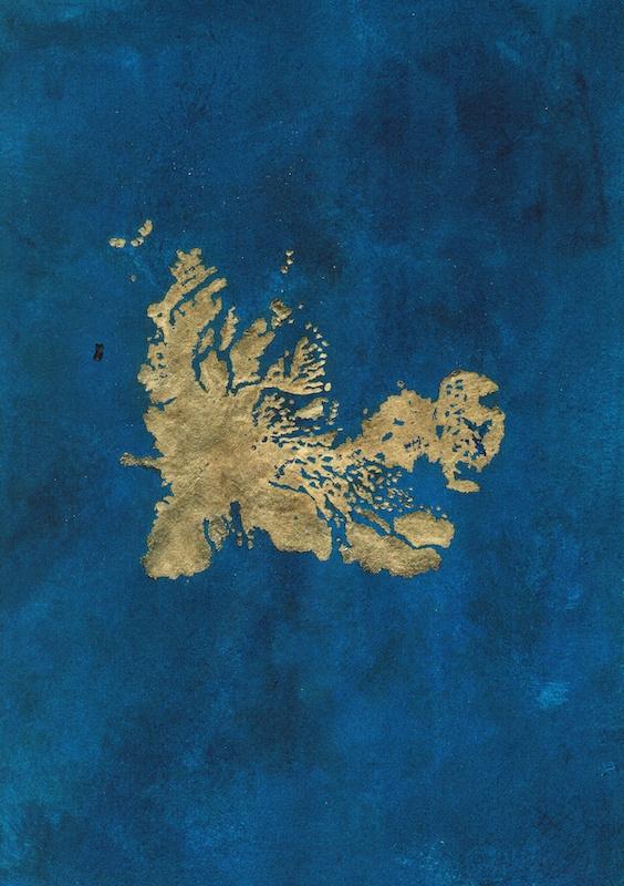 Aurélien Mauplot, Les éternelles (Kerguelen, BjØrnØya, Bengladesh) 21 x 29,7 cm Acrylique et feuille d'or sur papier 2019